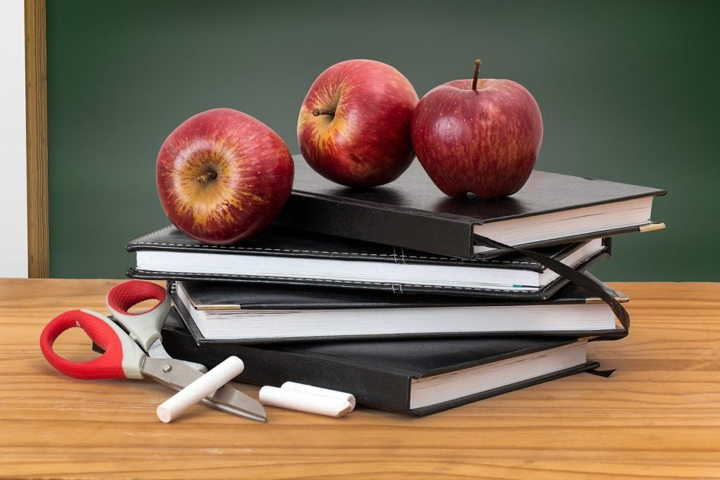 school, books, apples